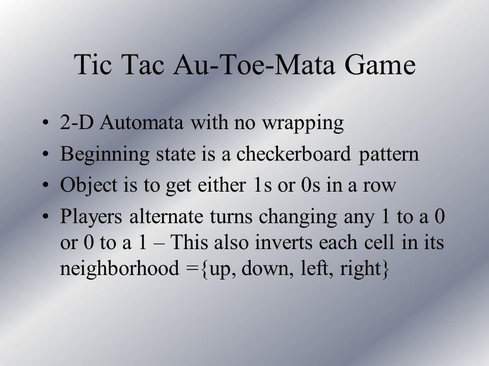 Tic Tac Au-Toe-Mata Initial positionAfter 1 move (row 3 col 2)
