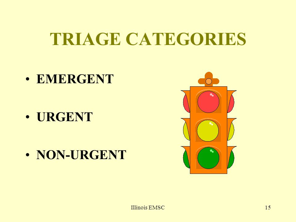 Illinois EMSC15 TRIAGE CATEGORIES EMERGENT URGENT NON-URGENT