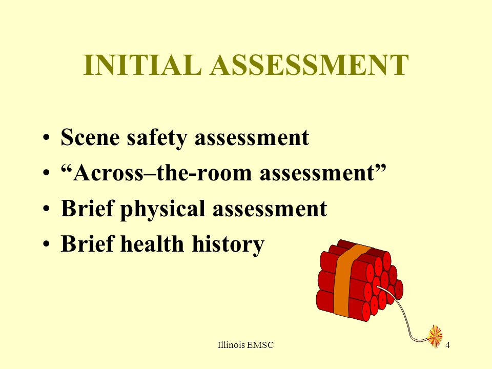 "Illinois EMSC4 INITIAL ASSESSMENT Scene safety assessment ""Across–the-room assessment"" Brief physical assessment Brief health history"