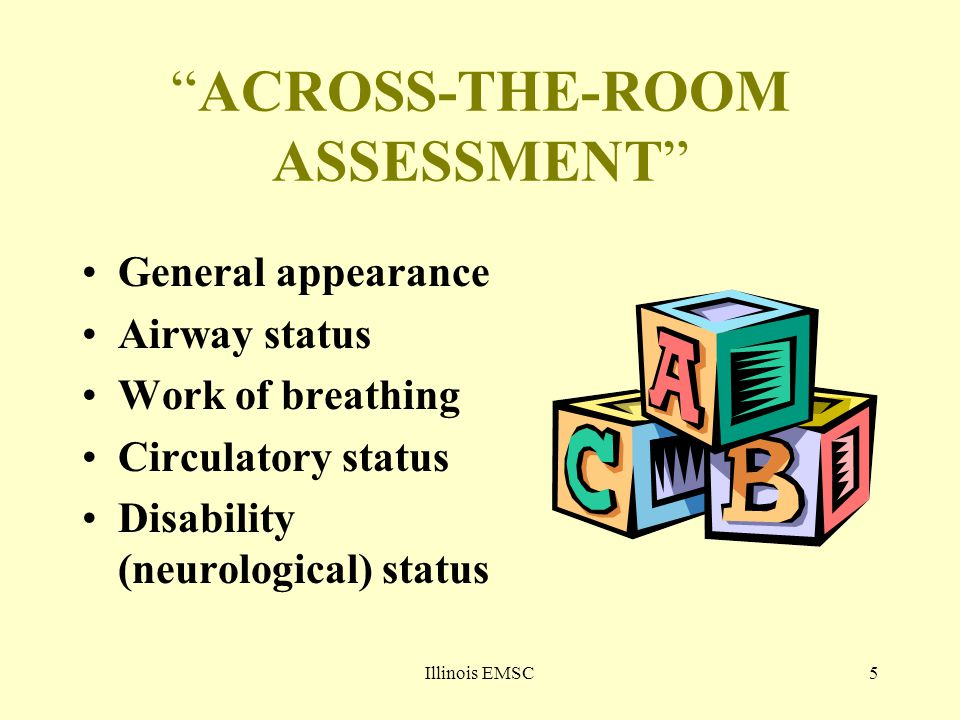 "Illinois EMSC5 ""ACROSS-THE-ROOM ASSESSMENT"" General appearance Airway status Work of breathing Circulatory status Disability (neurological) status"