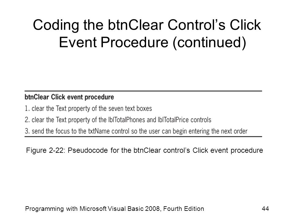 Coding the btnClear Control's Click Event Procedure (continued) Programming with Microsoft Visual Basic 2008, Fourth Edition44 Figure 2-22: Pseudocode
