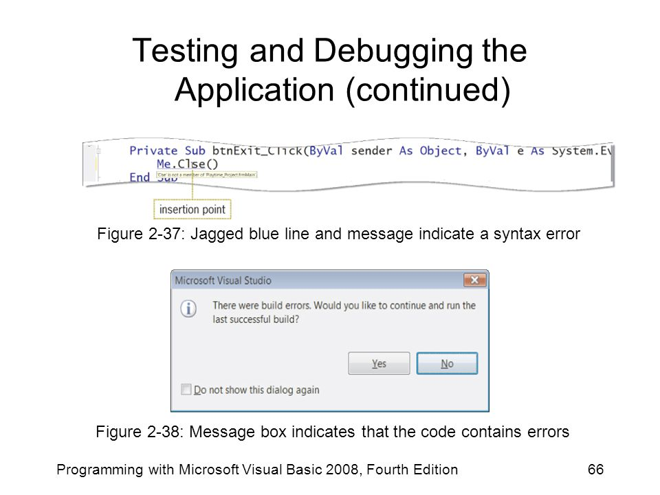 Testing and Debugging the Application (continued) Programming with Microsoft Visual Basic 2008, Fourth Edition66 Figure 2-38: Message box indicates th