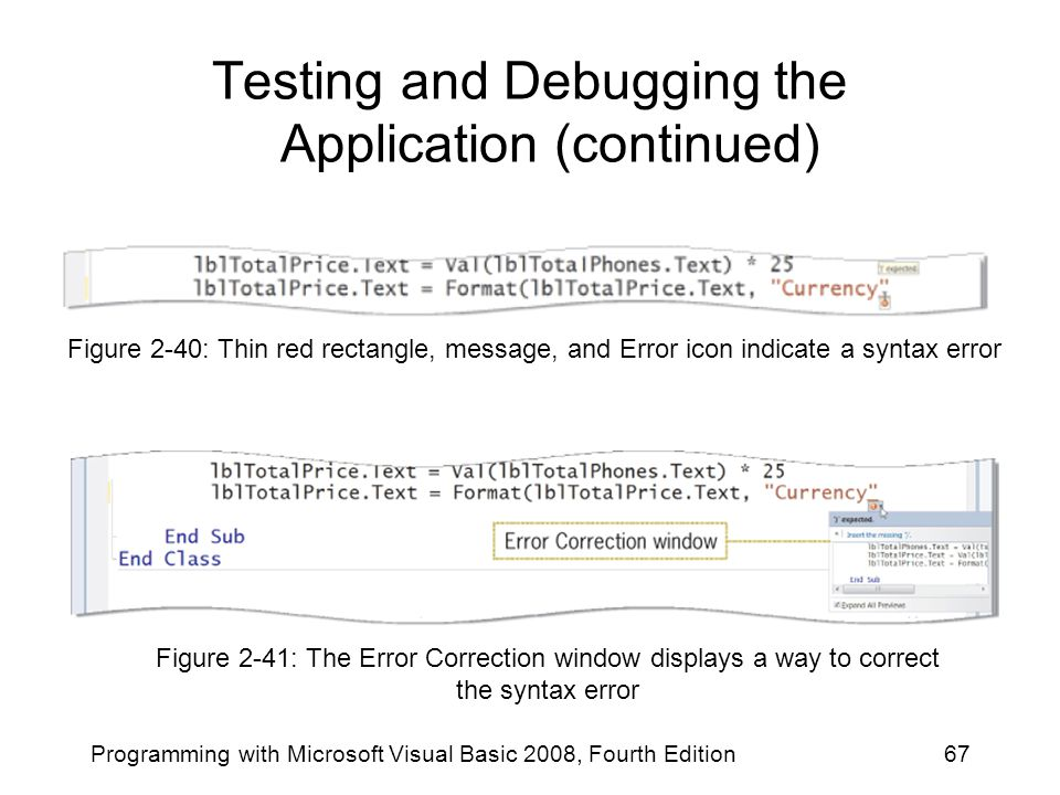 Testing and Debugging the Application (continued) Programming with Microsoft Visual Basic 2008, Fourth Edition67 Figure 2-40: Thin red rectangle, mess