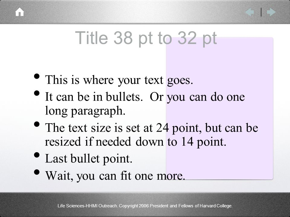 Title 38 pt to 32 pt This is where your text goes. It can be in bullets. Or you can do one long paragraph. The text size is set at 24 point, but can b