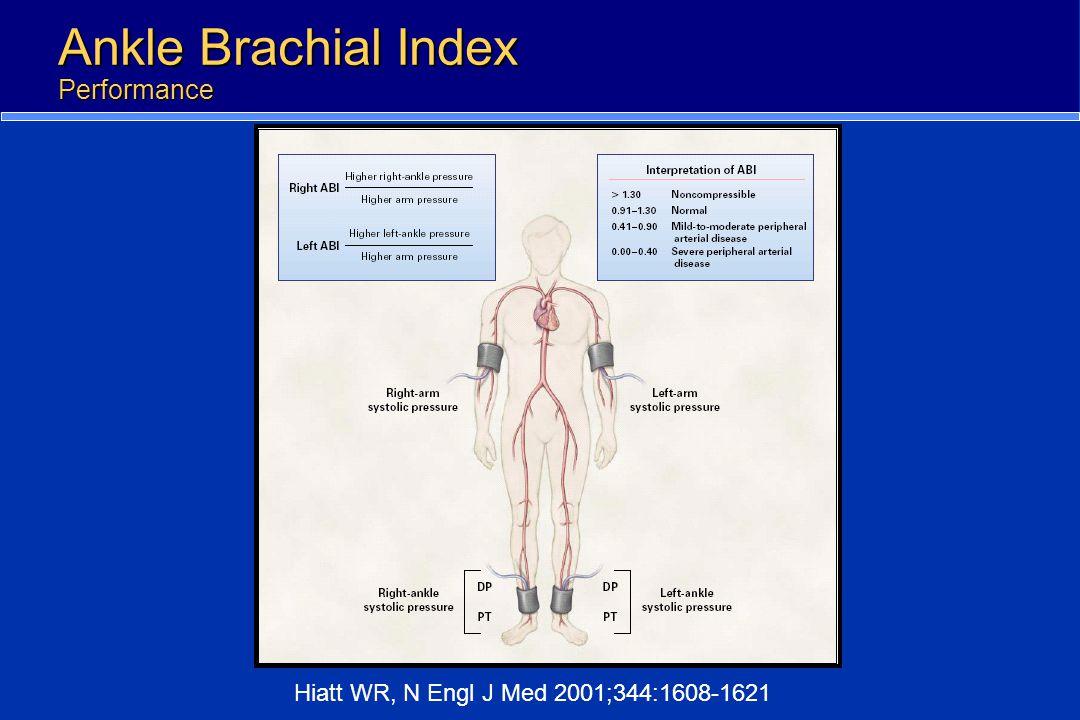 Ankle Brachial Index Performance Hiatt WR, N Engl J Med 2001;344:1608-1621