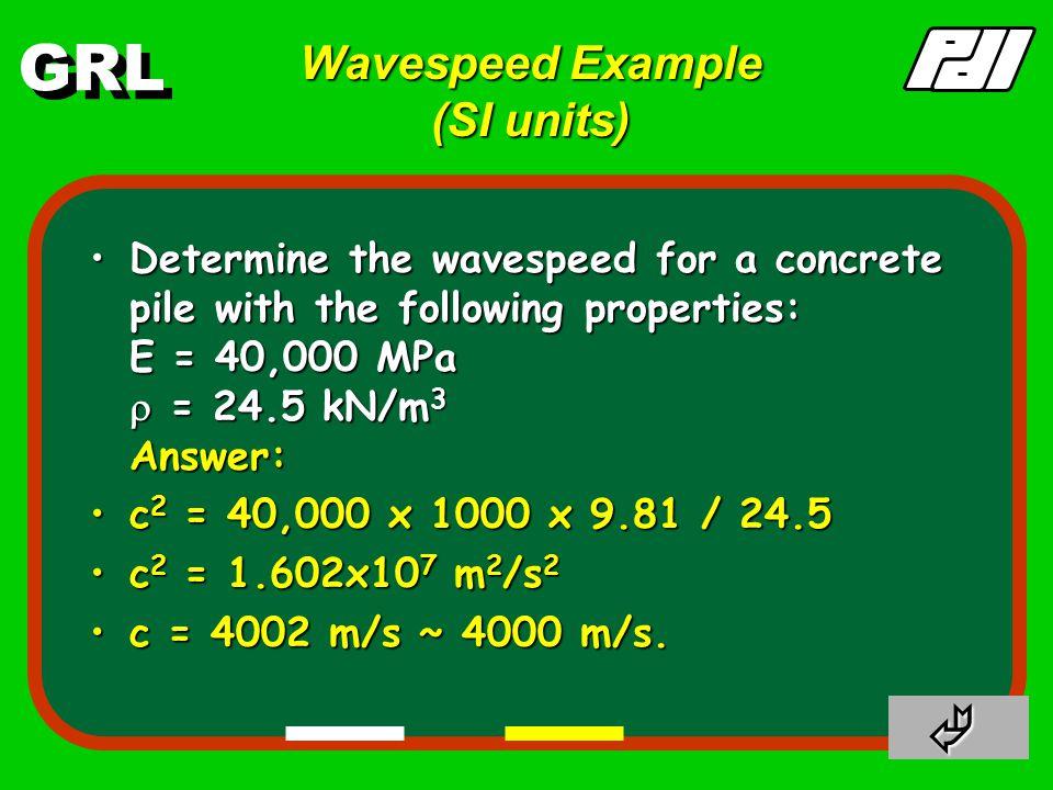 GRL v = F c EA EA v = F c EA EAdL Cross-sectional area, A Mass density,  Cross-sectional area, A Mass density,  Wavespeed a = dv = d Fc dt dt EA dt dt EA a = dv = d Fc dt dt EA dt dt EA F = ma = dL A  a = dL A  a F = ma = dL A  a = dL A  a F = dL A  F c dt E A dt E A F = dL A  F c dt E A dt E A c 11 c 2 = E c 2 = E    US  US  SI  SI