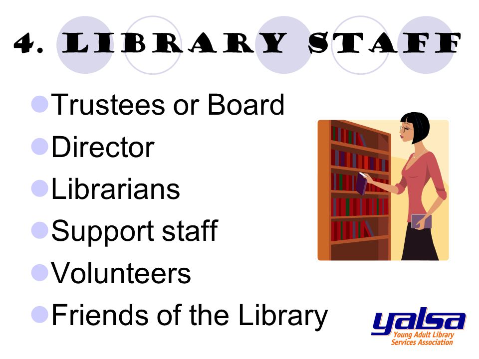 4. Library staff Trustees or Board Director Librarians Support staff Volunteers Friends of the Library