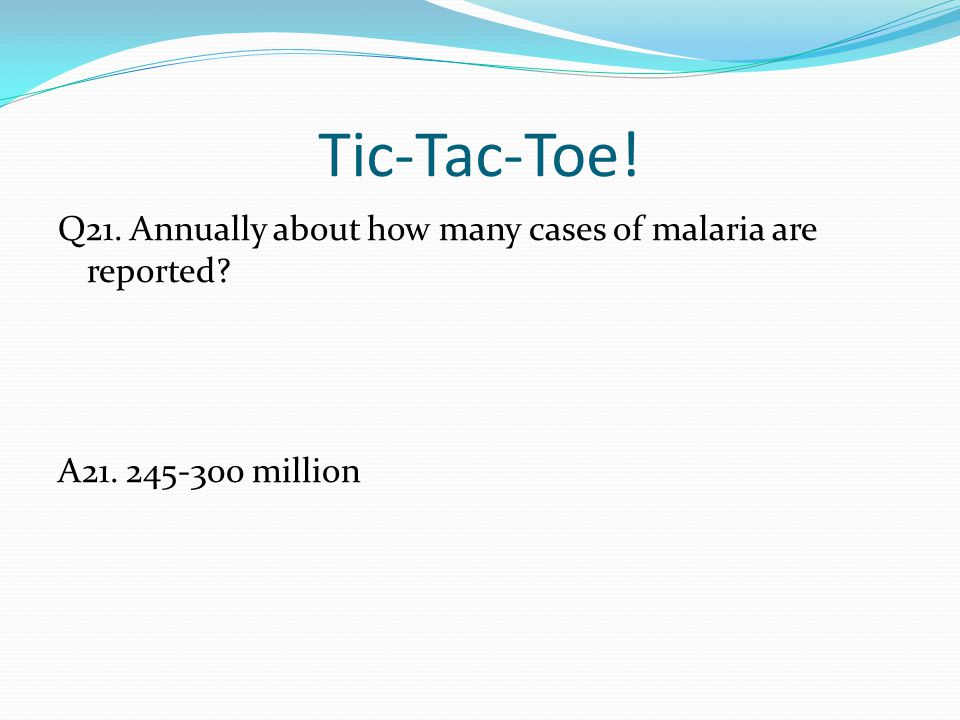 Tic-Tac-Toe! Q21. Annually about how many cases of malaria are reported? A21. 245-300 million
