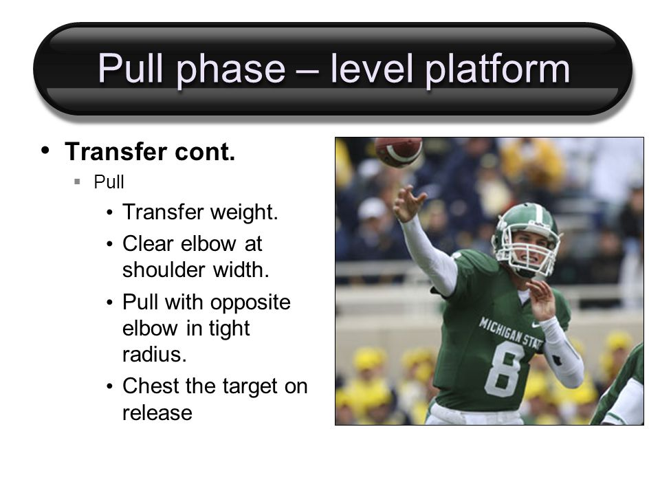 Pull phase – level platform Transfer cont.  Pull Transfer weight.