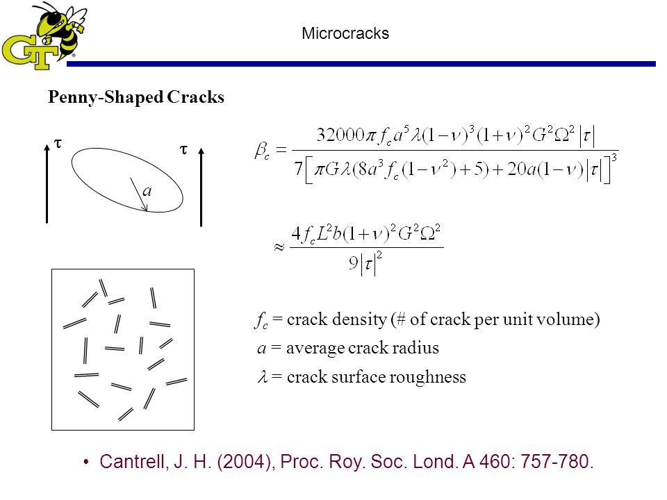 Microcracks Penny-Shaped Cracks a f c = crack density (# of crack per unit volume) a = average crack radius = crack surface roughness   Cantrell, J.