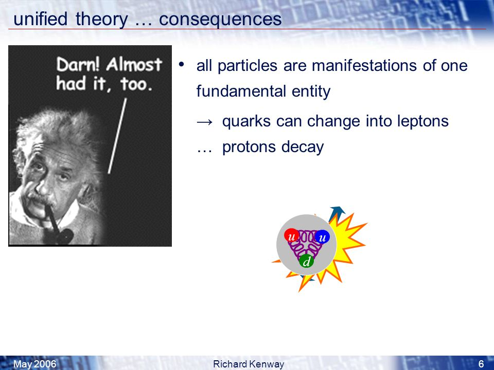 May 2006Richard Kenway6 u u u d unified theory … consequences all particles are manifestations of one fundamental entity → quarks can change into leptons … protons decay u u d