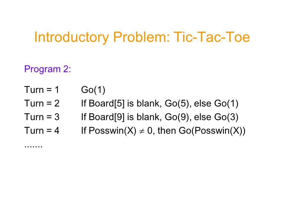 Program 2: Turn = 1Go(1) Turn = 2If Board[5] is blank, Go(5), else Go(1) Turn = 3If Board[9] is blank, Go(9), else Go(3) Turn = 4If Posswin(X)  0, then Go(Posswin(X)).......