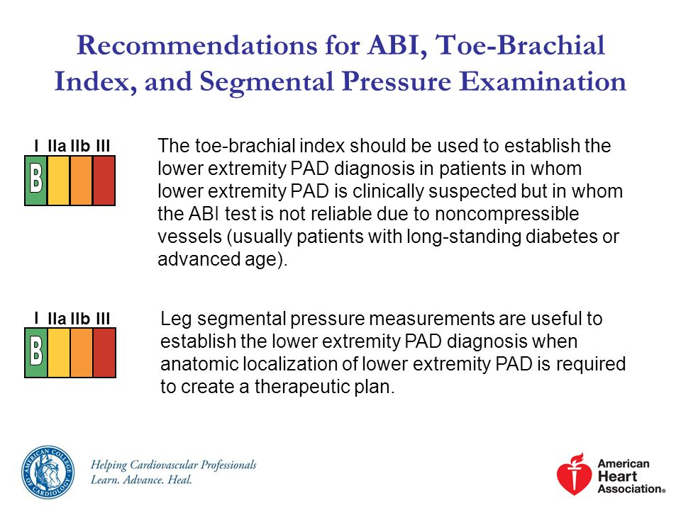 Recommendations for ABI, Toe-Brachial Index, and Segmental Pressure Examination The toe-brachial index should be used to establish the lower extremity PAD diagnosis in patients in whom lower extremity PAD is clinically suspected but in whom the ABI test is not reliable due to noncompressible vessels (usually patients with long-standing diabetes or advanced age).