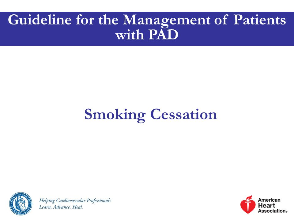 Smoking Cessation Guideline for the Management of Patients with PAD