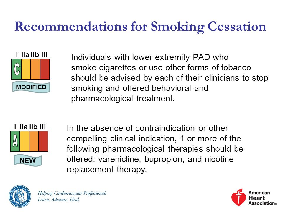 Recommendations for Smoking Cessation Individuals with lower extremity PAD who smoke cigarettes or use other forms of tobacco should be advised by each of their clinicians to stop smoking and offered behavioral and pharmacological treatment.