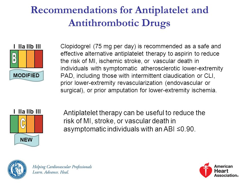 Recommendations for Antiplatelet and Antithrombotic Drugs Clopidogrel (75 mg per day) is recommended as a safe and effective alternative antiplatelet therapy to aspirin to reduce the risk of MI, ischemic stroke, or vascular death in individuals with symptomatic atherosclerotic lower-extremity PAD, including those with intermittent claudication or CLI, prior lower-extremity revascularization (endovascular or surgical), or prior amputation for lower-extremity ischemia.