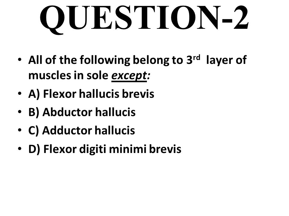 QUESTION-2 All of the following belong to 3 rd layer of muscles in sole except: A) Flexor hallucis brevis B) Abductor hallucis C) Adductor hallucis D) Flexor digiti minimi brevis