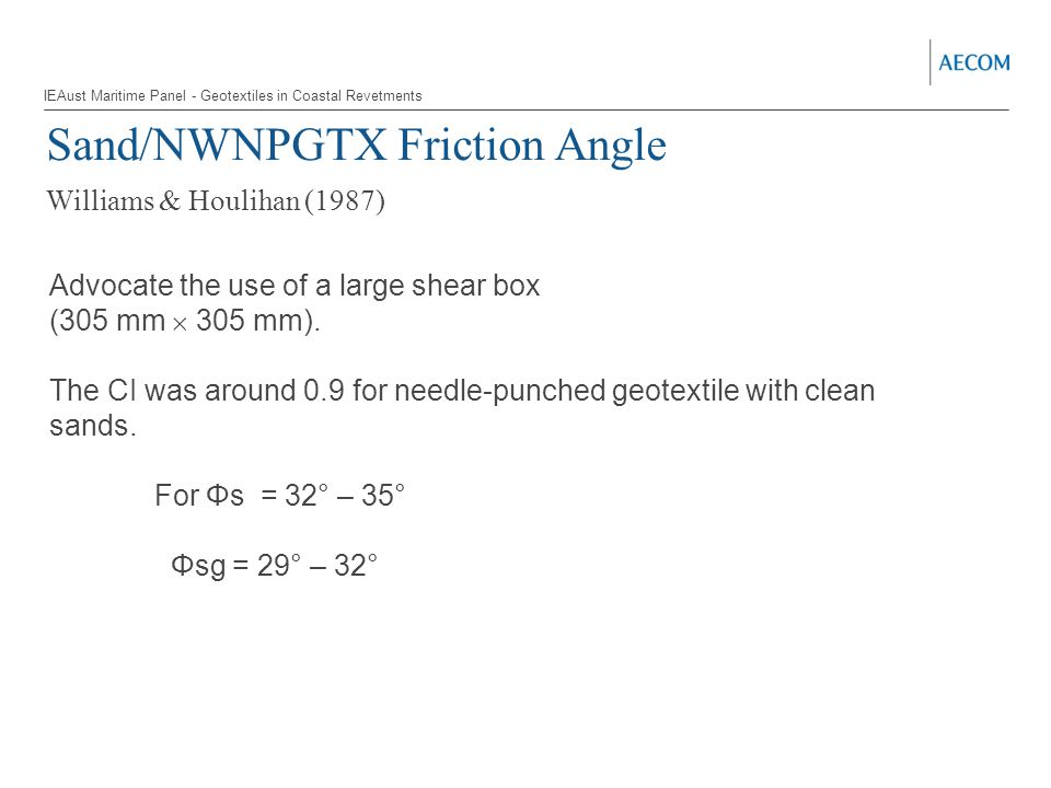 Sand/NWNPGTX Friction Angle Williams & Houlihan (1987) Advocate the use of a large shear box (305 mm  305 mm).