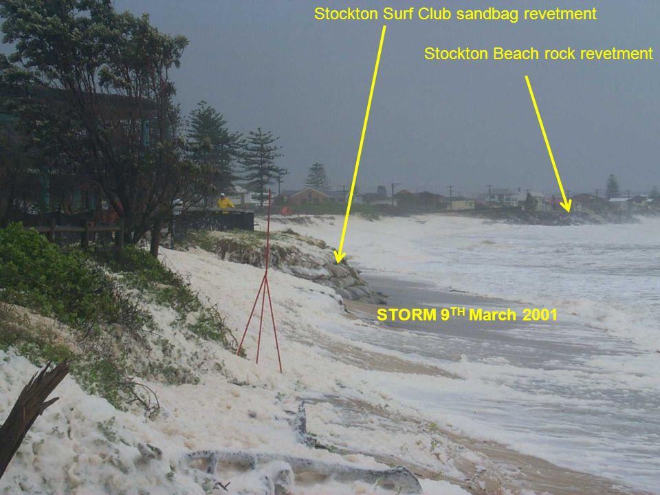 Section Header Sub-heading Stockton Surf Club sandbag revetment Stockton Beach rock revetment STORM 9 TH March 2001