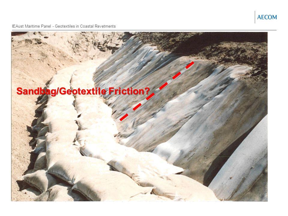 Section Header Sub-heading Sandbag/Geotextile Friction.