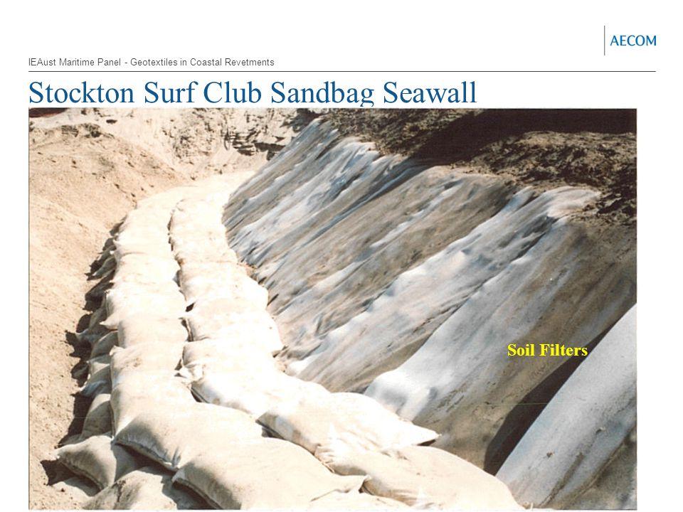Stockton Surf Club Sandbag Seawall Soil Filters IEAust Maritime Panel - Geotextiles in Coastal Revetments