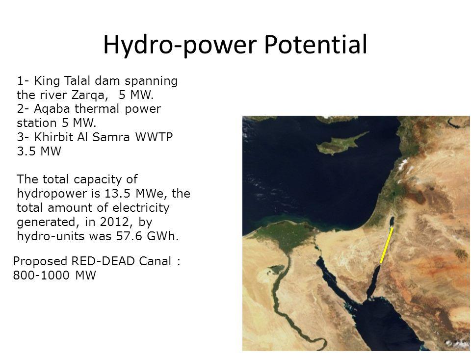 Hydro-power Potential 1- King Talal dam spanning the river Zarqa, 5 MW. 2- Aqaba thermal power station 5 MW. 3- Khirbit Al Samra WWTP 3.5 MW The total