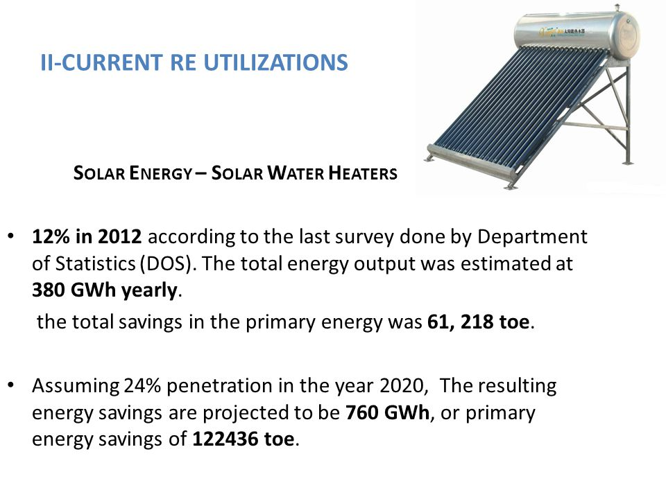II-CURRENT RE UTILIZATIONS S OLAR E NERGY – S OLAR W ATER H EATERS 12% in 2012 according to the last survey done by Department of Statistics (DOS). Th