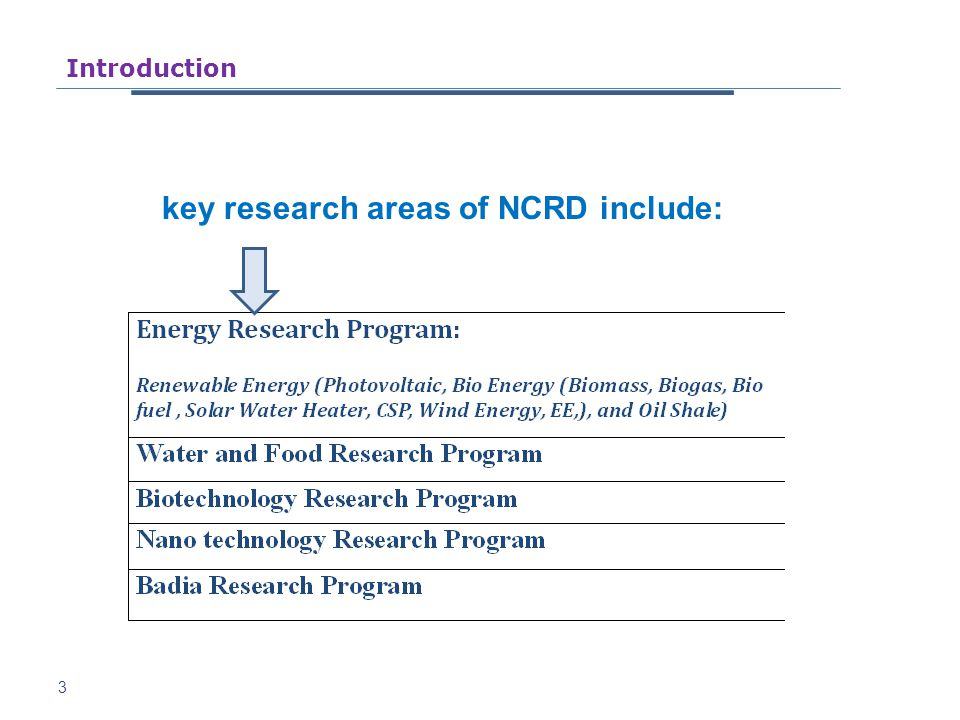 3 key research areas of NCRD include: Introduction