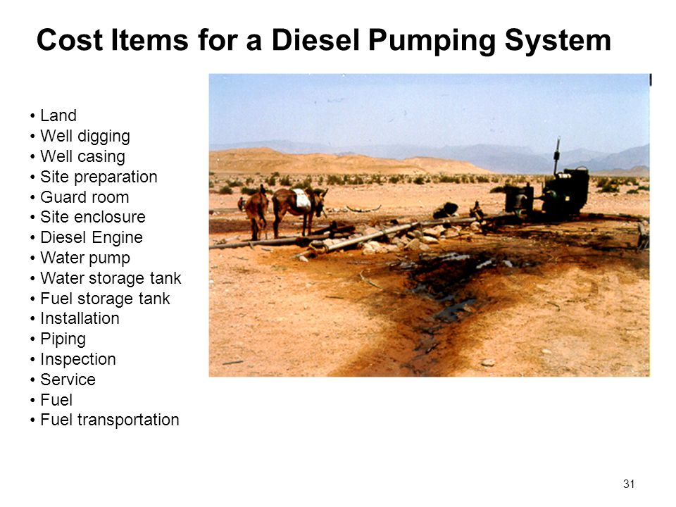 31 Cost Items for a Diesel Pumping System Land Well digging Well casing Site preparation Guard room Site enclosure Diesel Engine Water pump Water stor