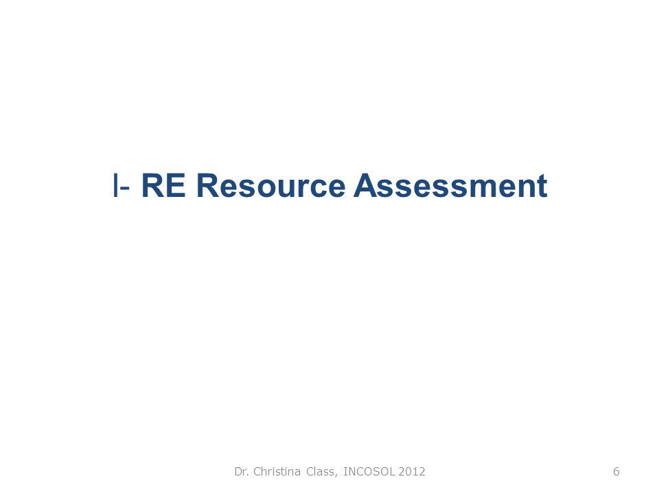 I- RE Resource Assessment Dr. Christina Class, INCOSOL 20126