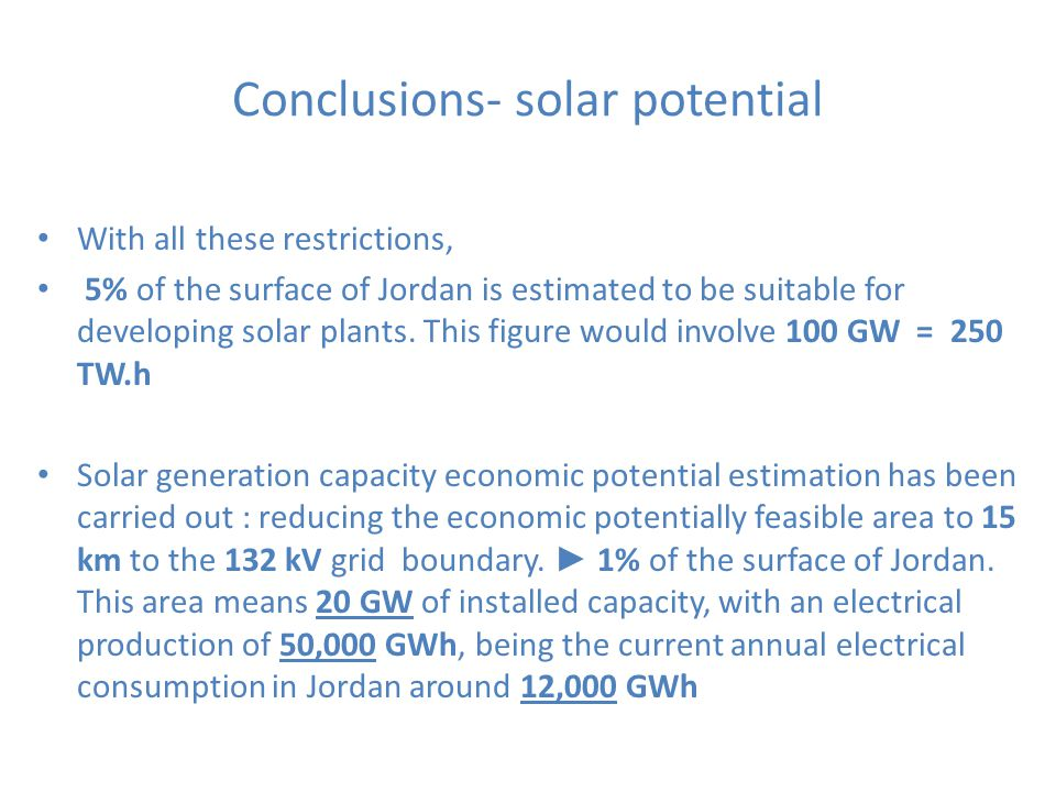 Conclusions- solar potential With all these restrictions, 5% of the surface of Jordan is estimated to be suitable for developing solar plants. This fi