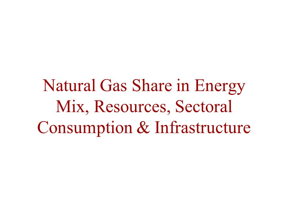 Natural Gas Share in Energy Mix, Resources, Sectoral Consumption & Infrastructure