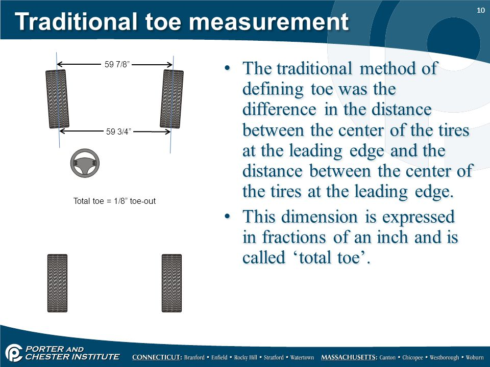 10 Traditional toe measurement The traditional method of defining toe was the difference in the distance between the center of the tires at the leading edge and the distance between the center of the tires at the leading edge.
