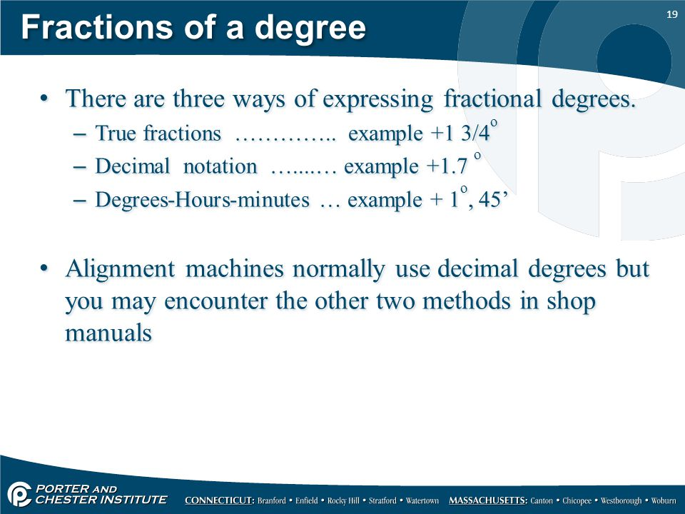 19 Fractions of a degree There are three ways of expressing fractional degrees.