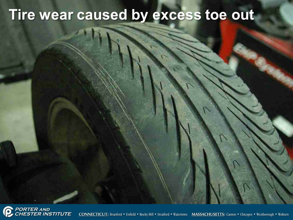 6 Tire wear caused by excess toe out