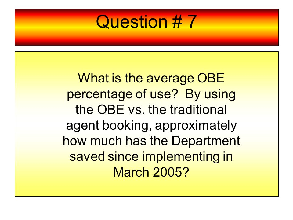 Question # 7 What is the average OBE percentage of use.