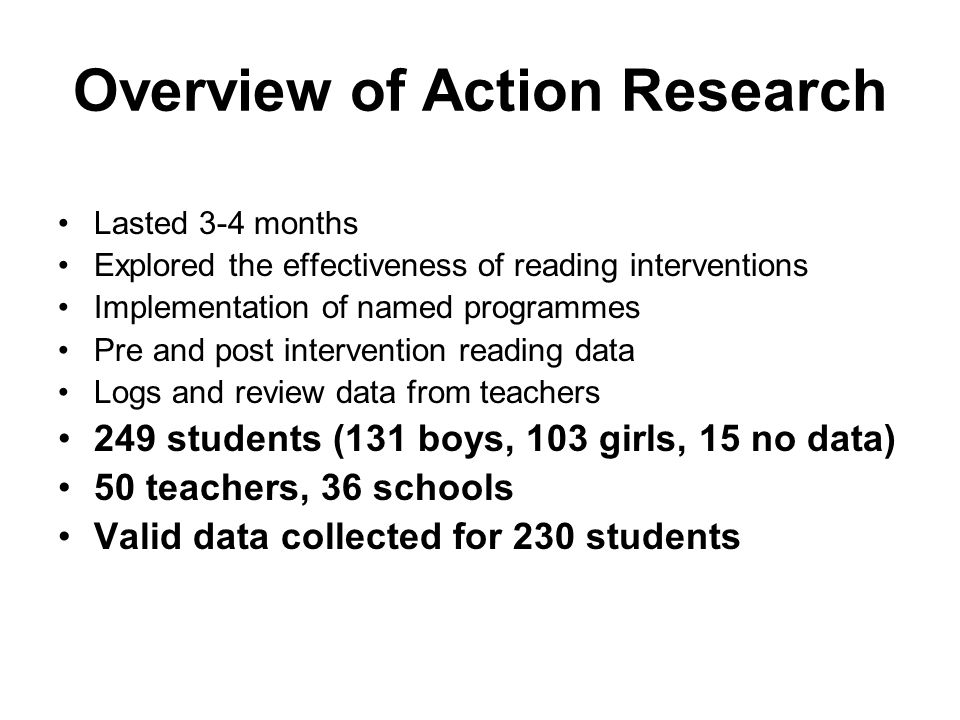 Overview of Action Research Lasted 3-4 months Explored the effectiveness of reading interventions Implementation of named programmes Pre and post intervention reading data Logs and review data from teachers 249 students (131 boys, 103 girls, 15 no data) 50 teachers, 36 schools Valid data collected for 230 students