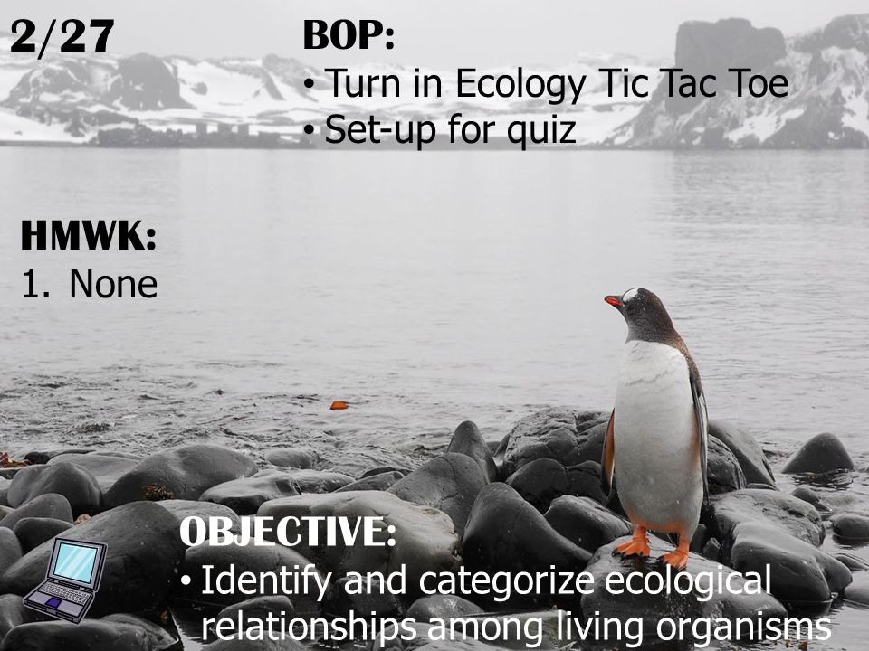HMWK: 1.None 2/27 OBJECTIVE: Identify and categorize ecological relationships among living organisms BOP: Turn in Ecology Tic Tac Toe Set-up for quiz