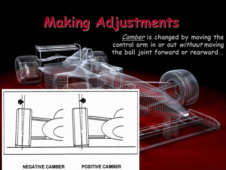 Making Adjustments Caster is adjusted by moving the control arm so that the ball joint moves toward the front or rear of the vehicle and is not always adjustable.