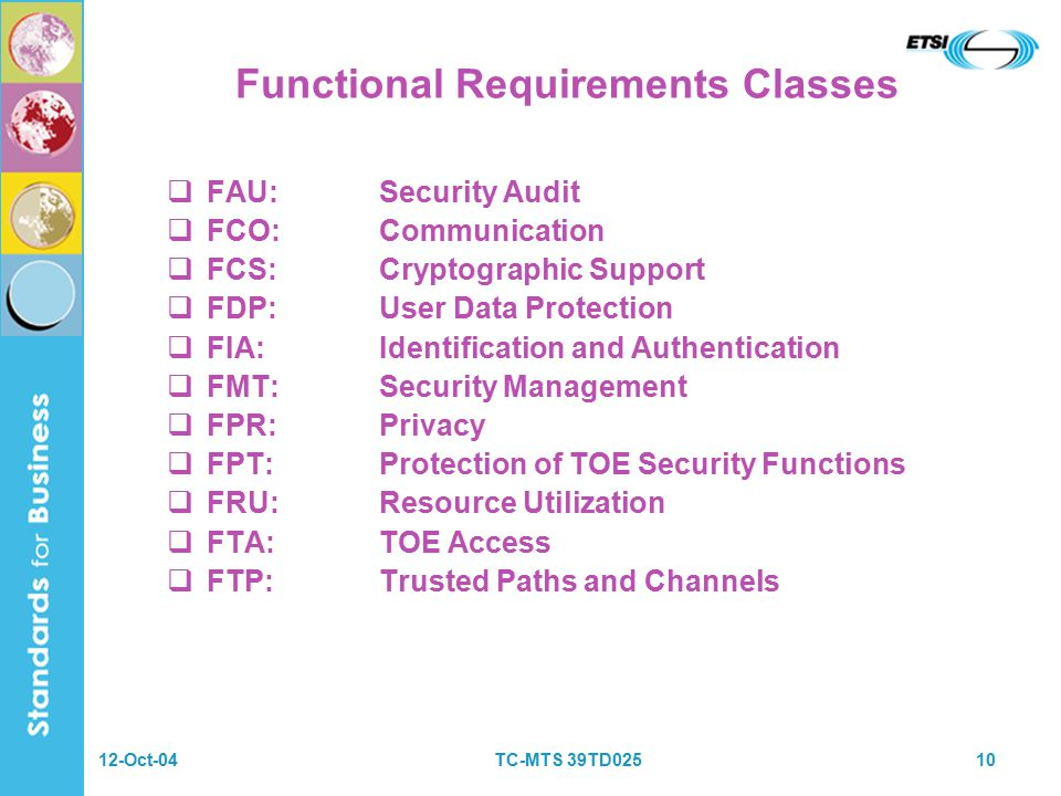 12-Oct-04TC-MTS 39TD02510 Functional Requirements Classes  FAU:Security Audit  FCO:Communication  FCS:Cryptographic Support  FDP:User Data Protection  FIA:Identification and Authentication  FMT:Security Management  FPR:Privacy  FPT:Protection of TOE Security Functions  FRU:Resource Utilization  FTA:TOE Access  FTP:Trusted Paths and Channels