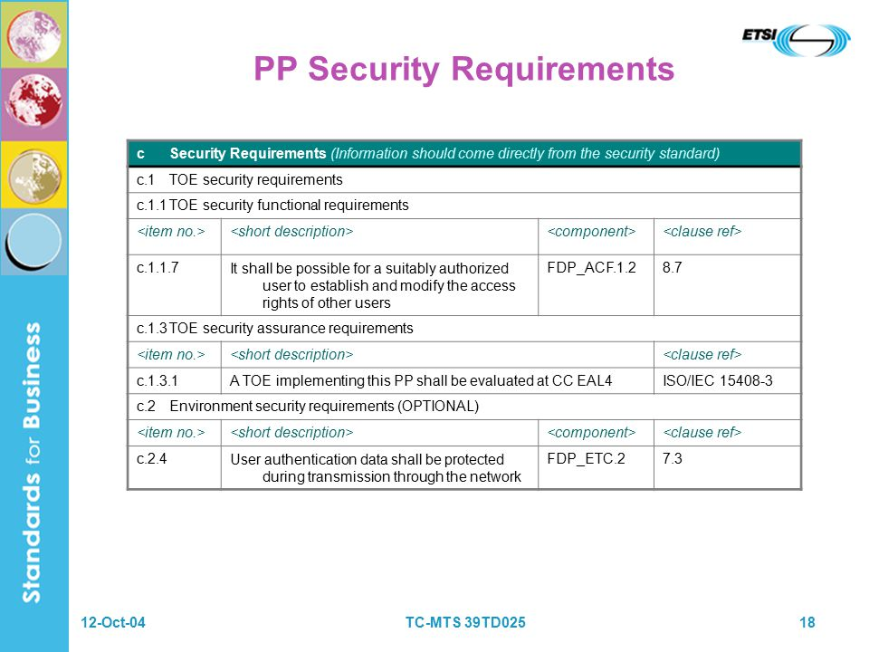 12-Oct-04TC-MTS 39TD02518 PP Security Requirements cSecurity Requirements (Information should come directly from the security standard) c.1TOE security requirements c.1.1TOE security functional requirements c.1.1.7It shall be possible for a suitably authorized user to establish and modify the access rights of other users FDP_ACF.1.28.7 c.1.3TOE security assurance requirements c.1.3.1A TOE implementing this PP shall be evaluated at CC EAL4 ISO/IEC 15408 ‑ 3 c.2Environment security requirements (OPTIONAL) c.2.4User authentication data shall be protected during transmission through the network FDP_ETC.27.3