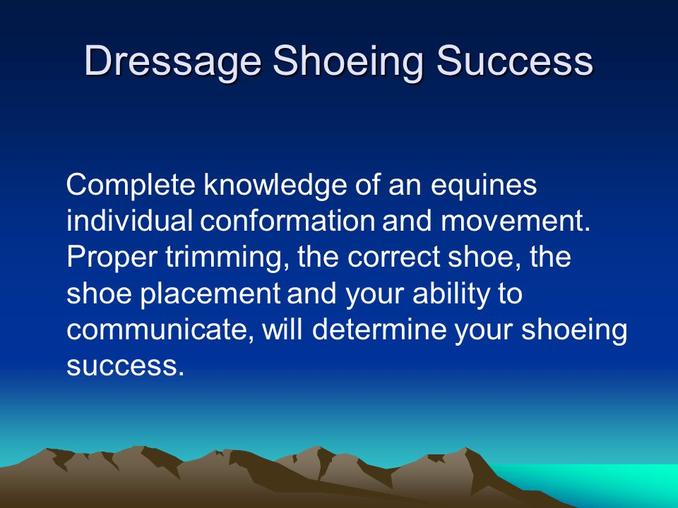 Dressage Shoeing Success Complete knowledge of an equines individual conformation and movement. Proper trimming, the correct shoe, the shoe placement