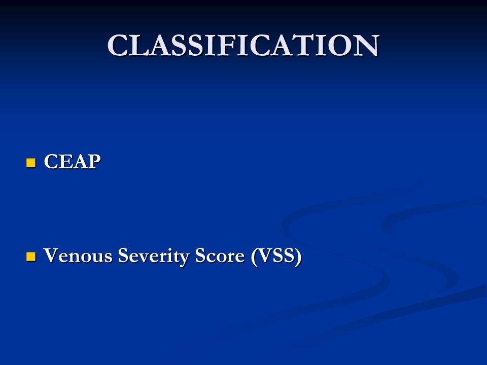 CLASSIFICATION CEAP CEAP Venous Severity Score (VSS) Venous Severity Score (VSS)