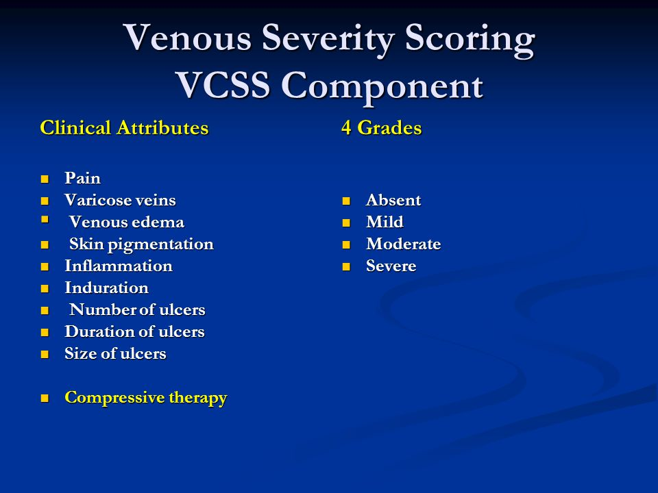 Venous Severity Scoring VCSS Component Clinical Attributes Pain Pain Varicose veins Varicose veins  Venous edema Skin pigmentation Skin pigmentation Inflammation Inflammation Induration Induration Number of ulcers Number of ulcers Duration of ulcers Duration of ulcers Size of ulcers Size of ulcers Compressive therapy Compressive therapy 4 Grades Absent Mild Moderate Severe