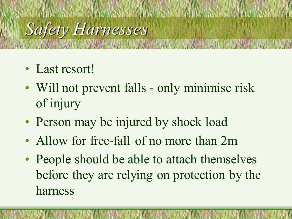 Safety Harnesses Last resort.