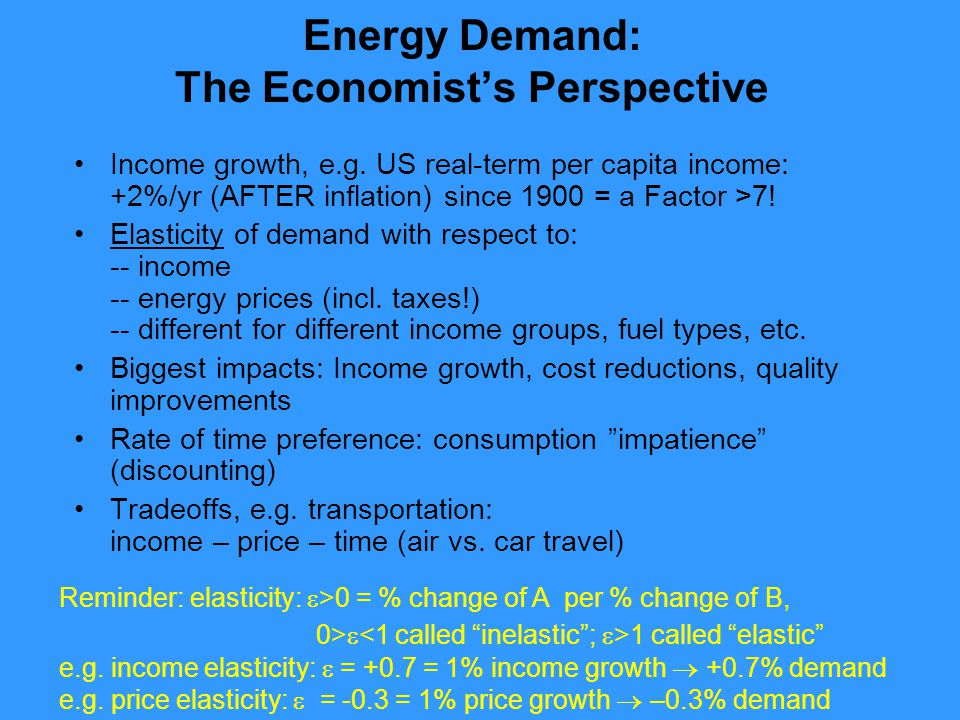 Energy Demand: The Economist's Perspective Income growth, e.g.