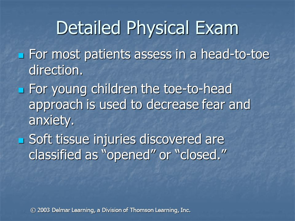 Closed Soft Tissue Injuries Contusion Contusion Hematoma Hematoma Crush injuries Crush injuries © 2003 Delmar Learning, a Division of Thomson Learning, Inc.