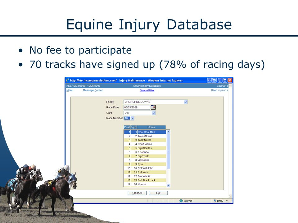 Equine Injury Database No fee to participate 70 tracks have signed up (78% of racing days)