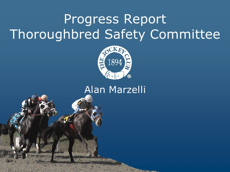 Alan Marzelli Progress Report Thoroughbred Safety Committee