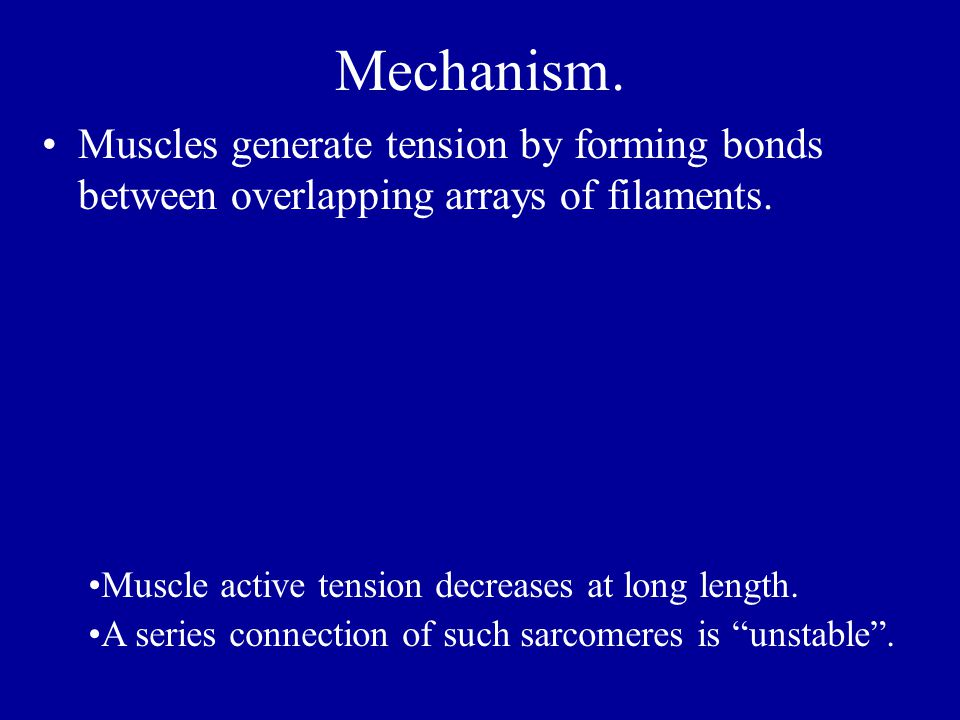 Mechanism. Muscles generate tension by forming bonds between overlapping arrays of filaments.
